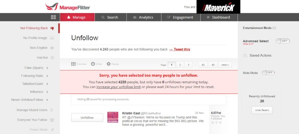 managefilter, think maverick, twitter, unfollow